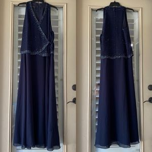 Blue beaded J Kara gown